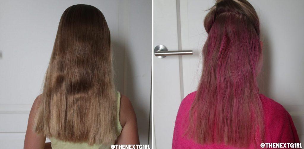 Haar voor en nadat het gekleurd is met Kruidvat Catch and Shine Neon Pink haarspray
