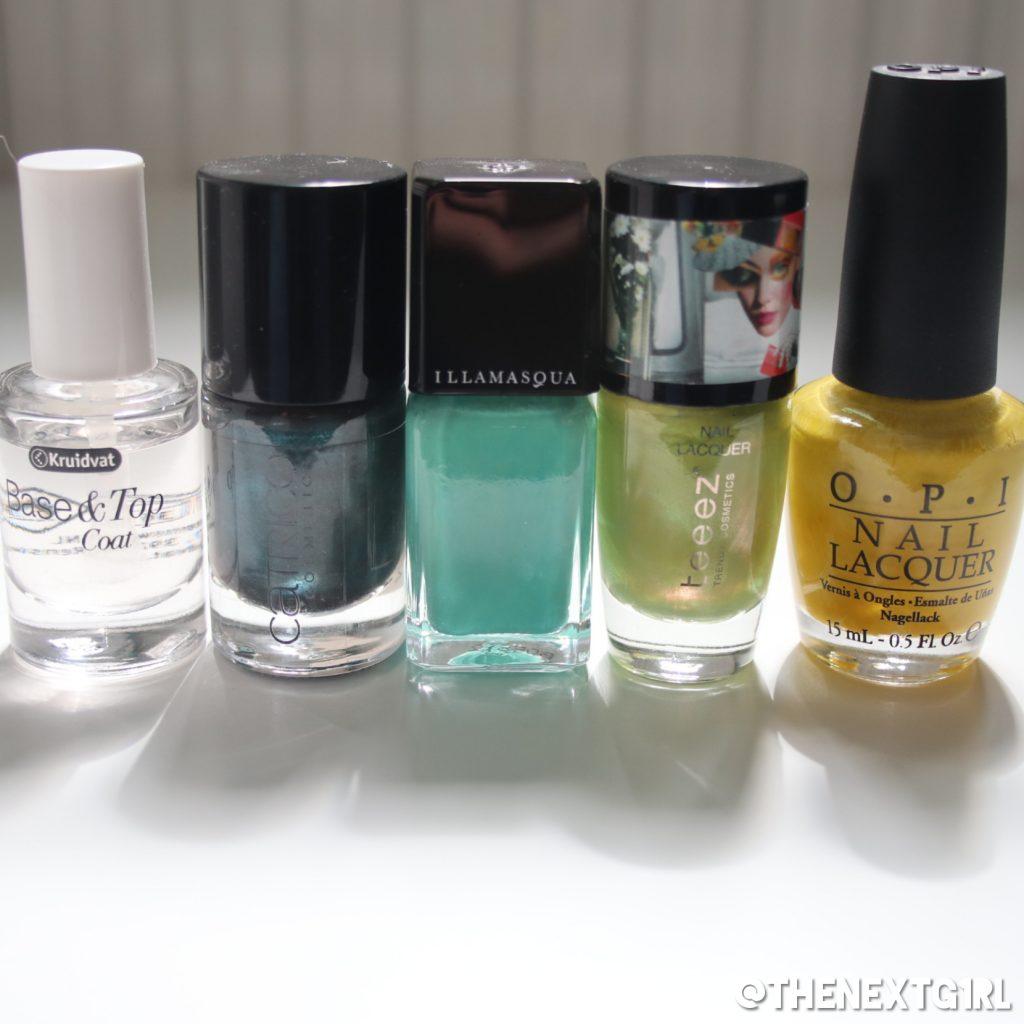 Gebruikte nagellak nailart gradient nagels groen geel