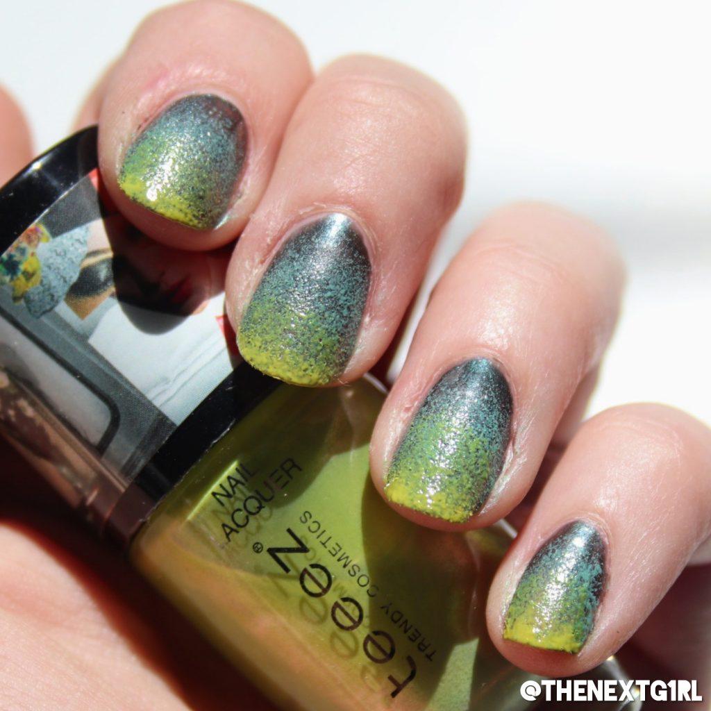 Nailart gradient nagels groen geel