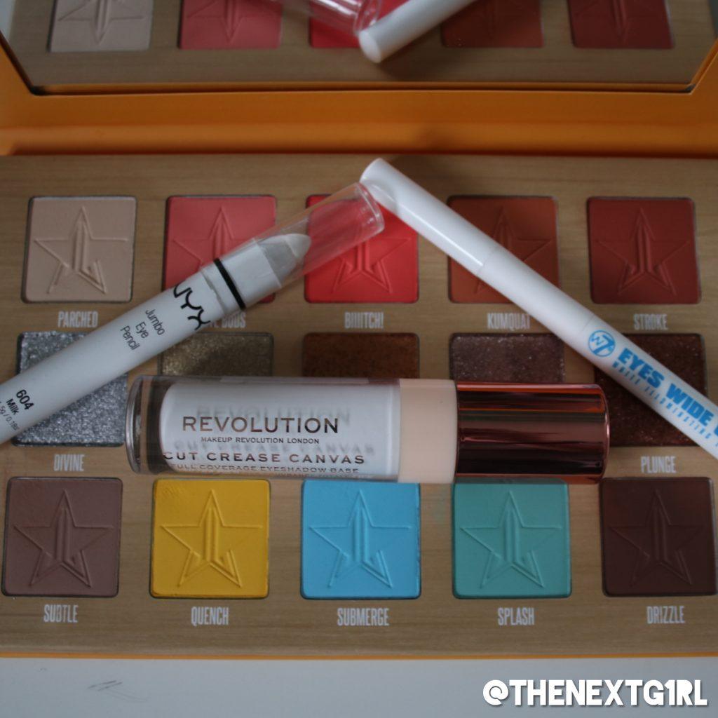Gebruikte producten bij ooglook Thirsty oogschaduwpalette en witte items