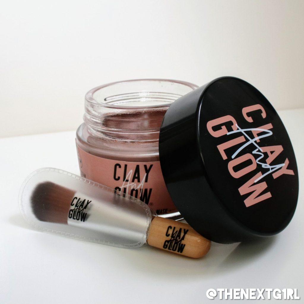 Clay and Glow roze klei masker met kwastje