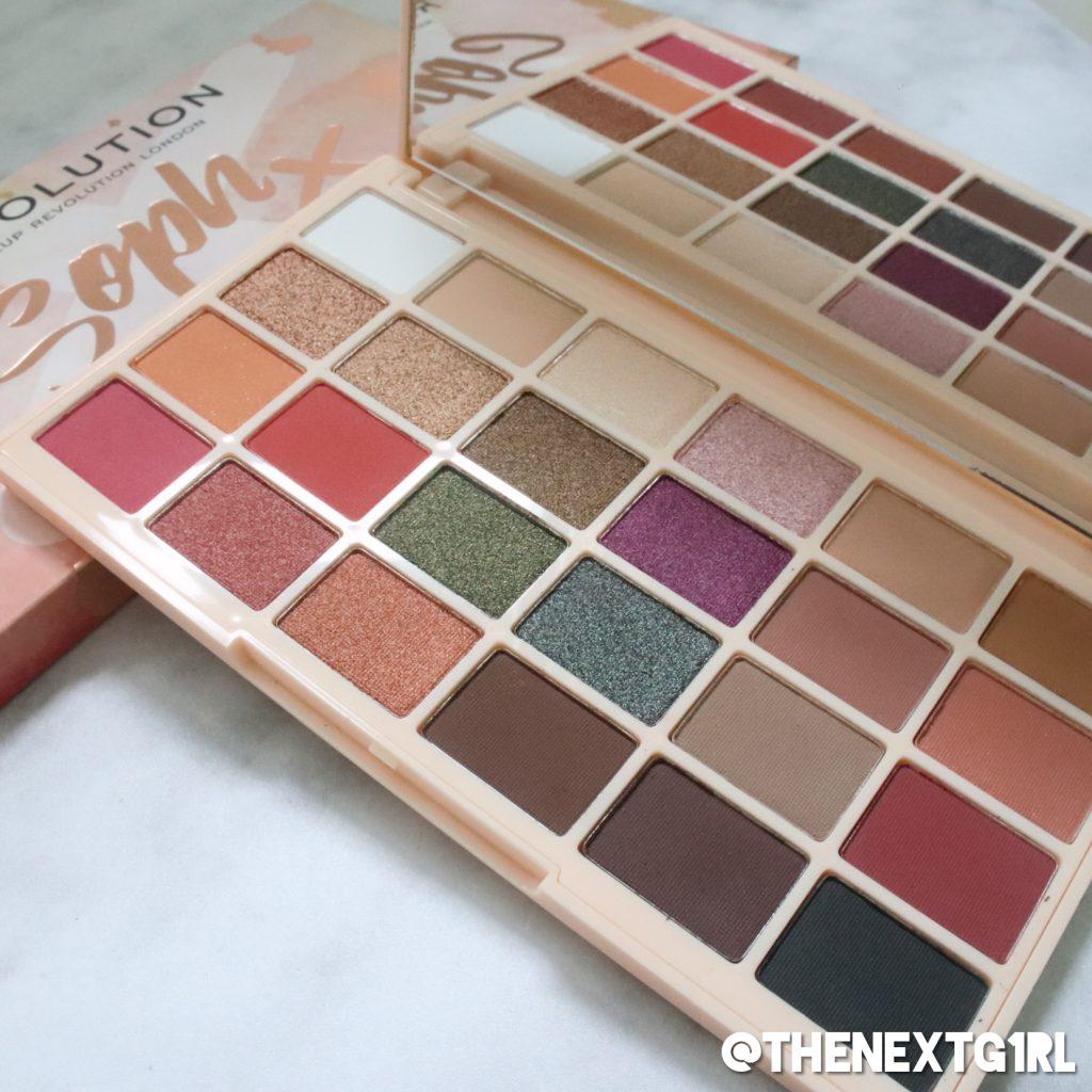 Makeup Revolution x Soph oogschaduwpalette kleuren