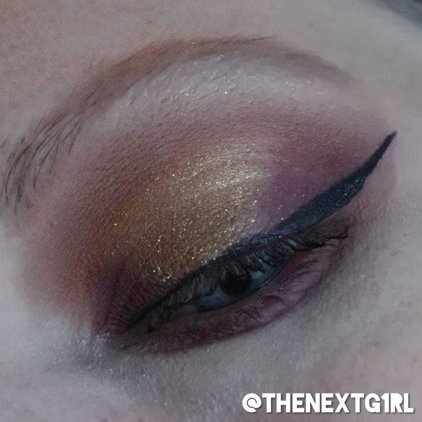 Herfst make-up ooglook met gouden glitters