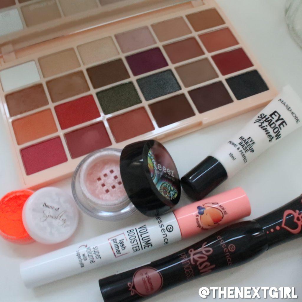 Gebruikte producten oranje ooglook met neon