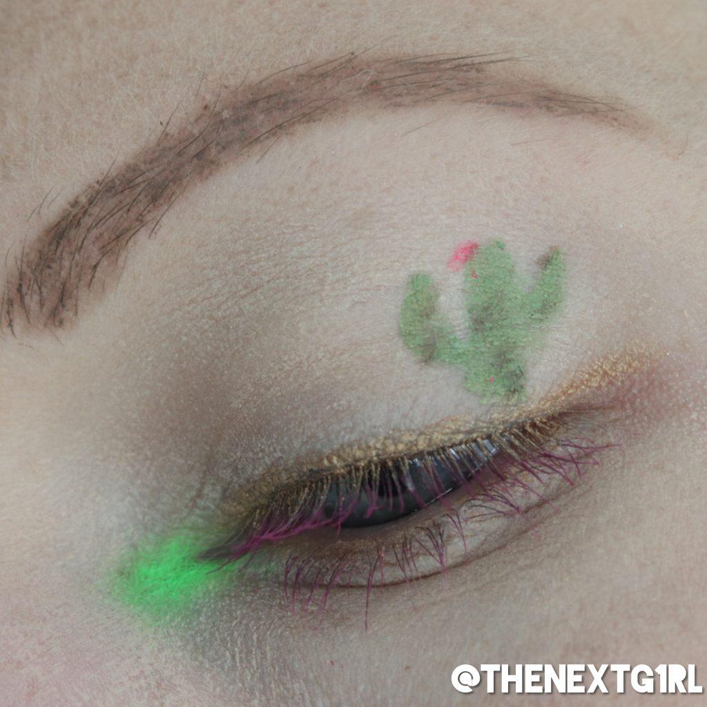 Cactus ooglook met gosh oogpotlood en gekleurde mascara
