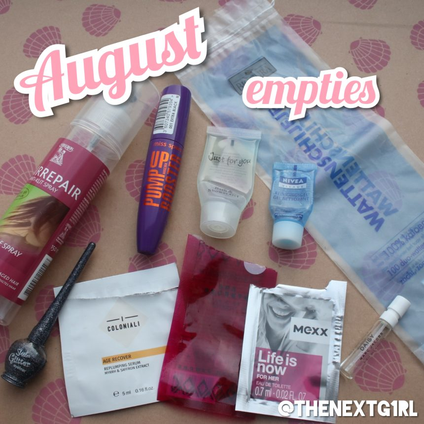 Empties en decluttered in augustus 2019