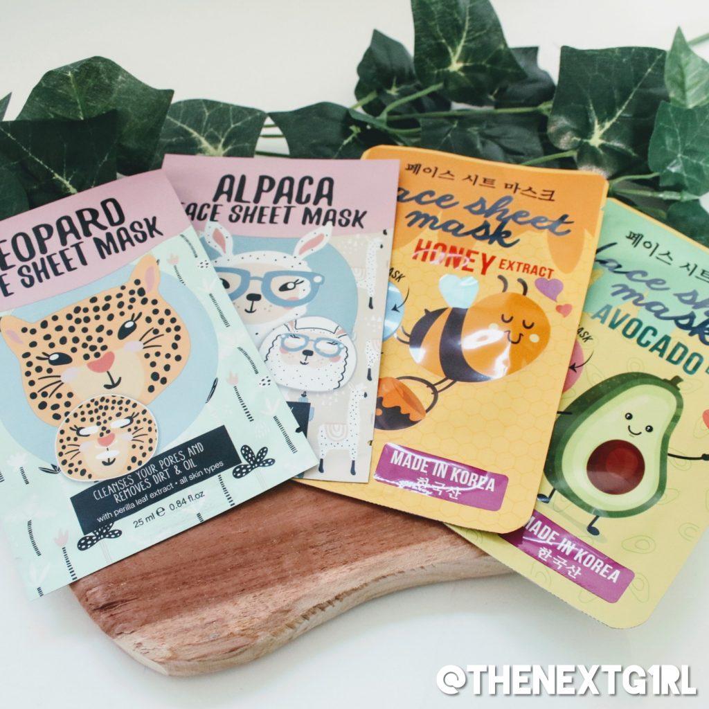 Action sheetmasks korean dieren gezichtsmaskers
