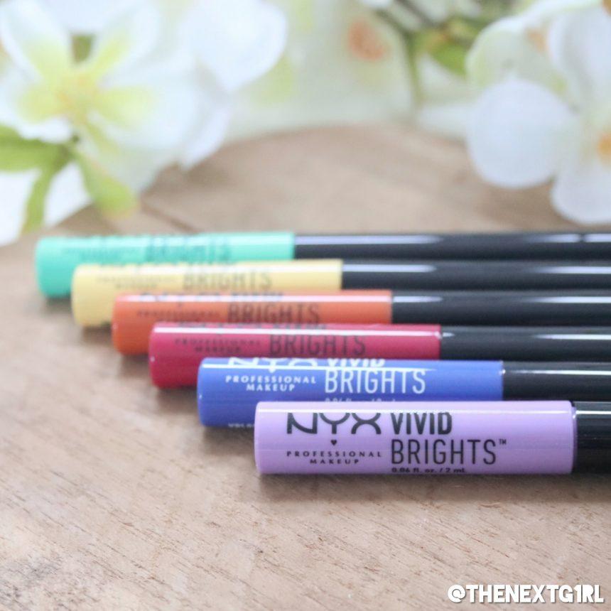 NYX Vivid Brights gekleurde eyeliner groen rood oranje geel blauw lila
