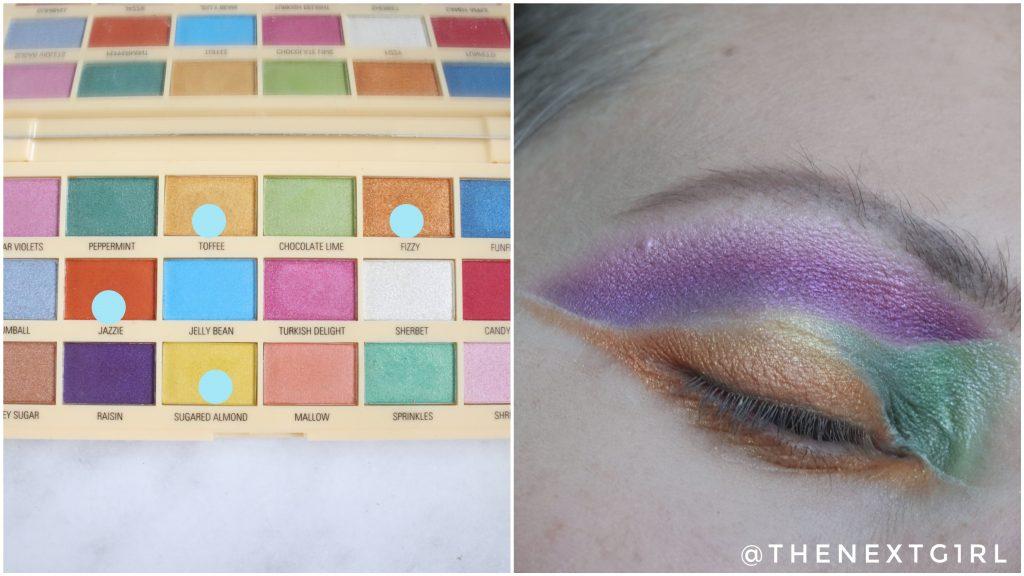 Ooglook kleurvlakken I Heart Revolution Sprinkles palette Stap 4