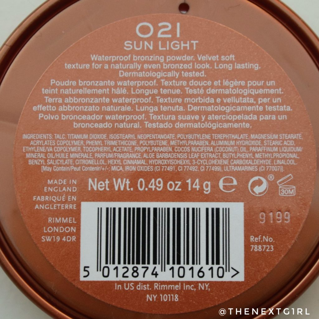 Bronzer waterproof 021 Sun Light achterkant