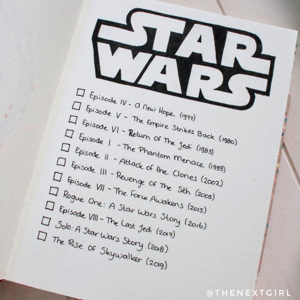BuJo Star Wars films lijst afvinken