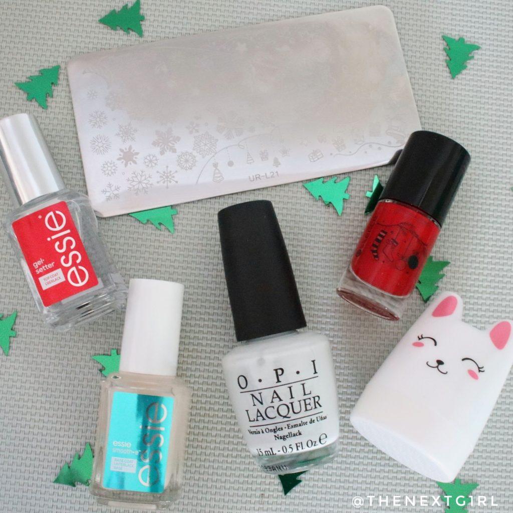 Kerstmis nailart stempel stamping OPI Essence Essie nagellak