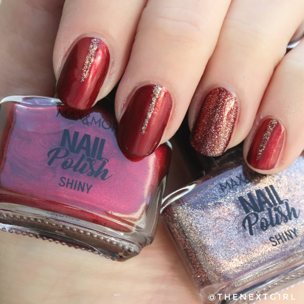 simpele kerst winter nailart glitters rood Max&More