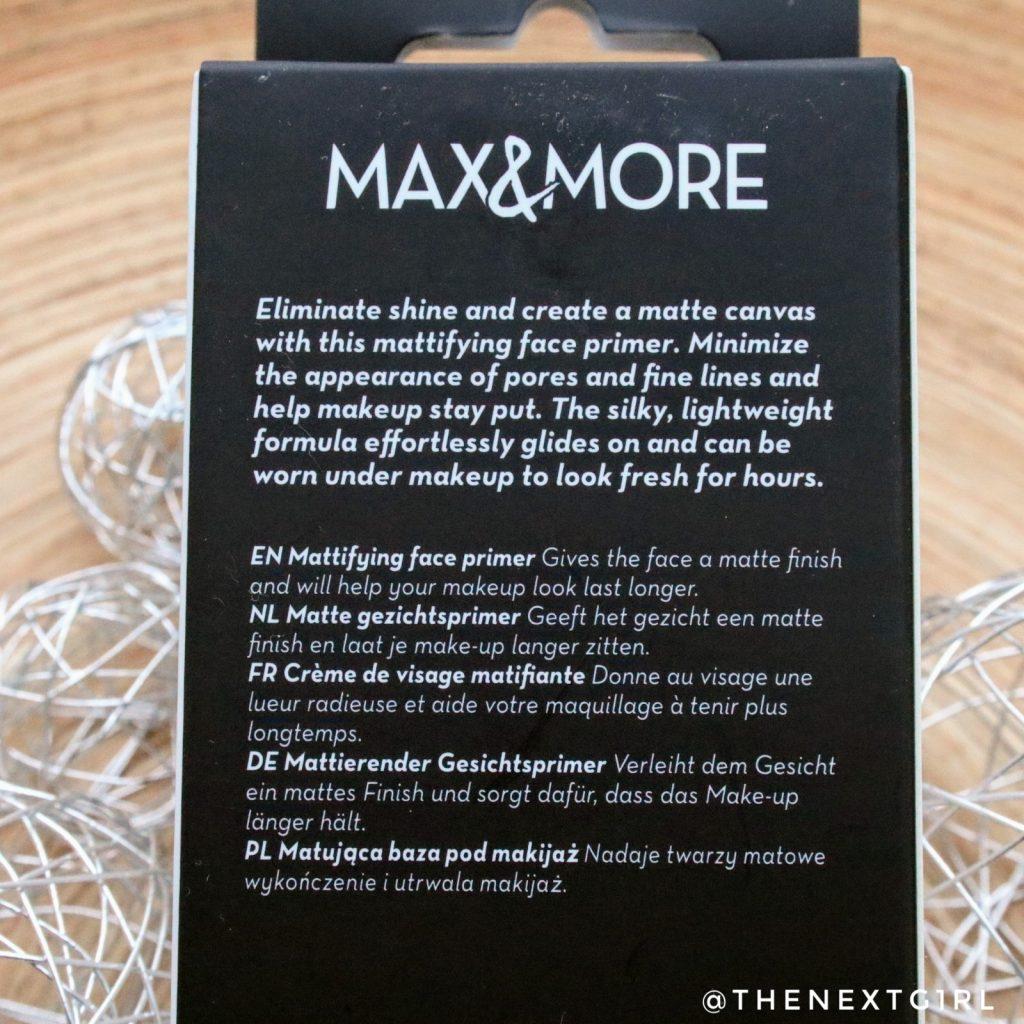 Max & More faceprimer mattifying achterkant