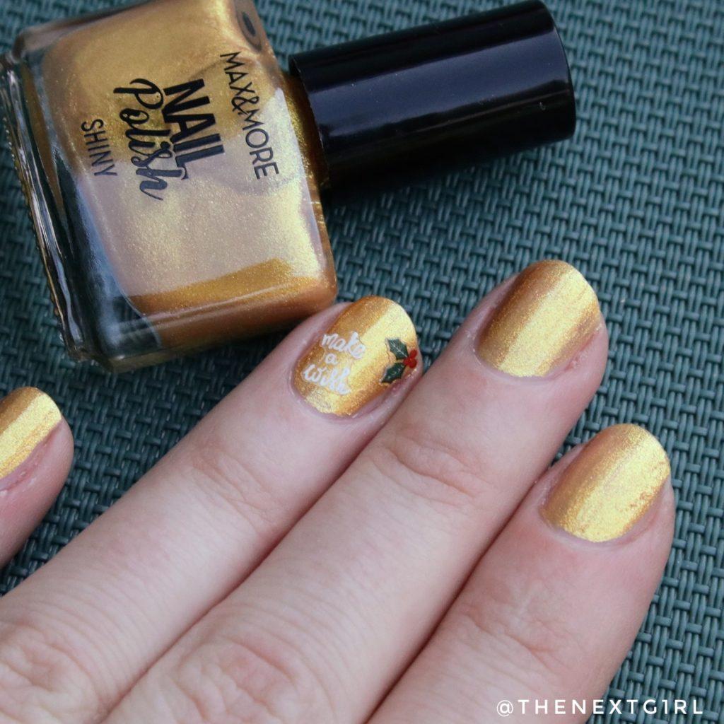 eenvoudige kerst winter nailart goud nagelstickers