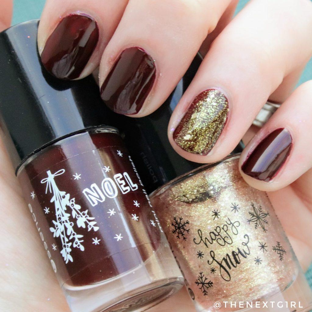 simpele kerst winter nailart glitters goud