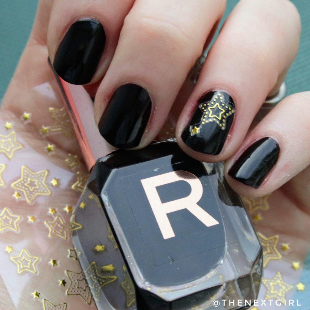 eenvoudige kerst zwart nailart goud nagelstickers