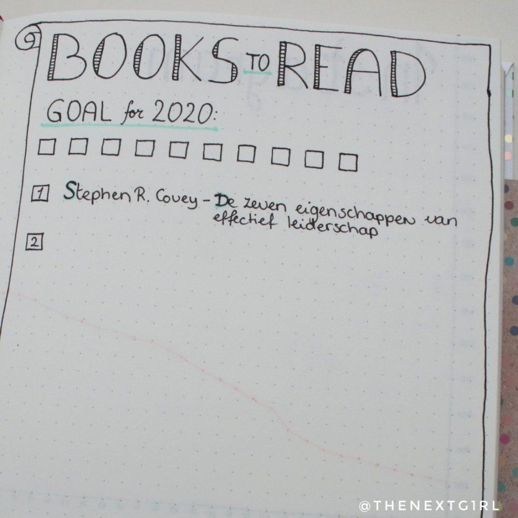 Te lezen boeken bujo pagina idee