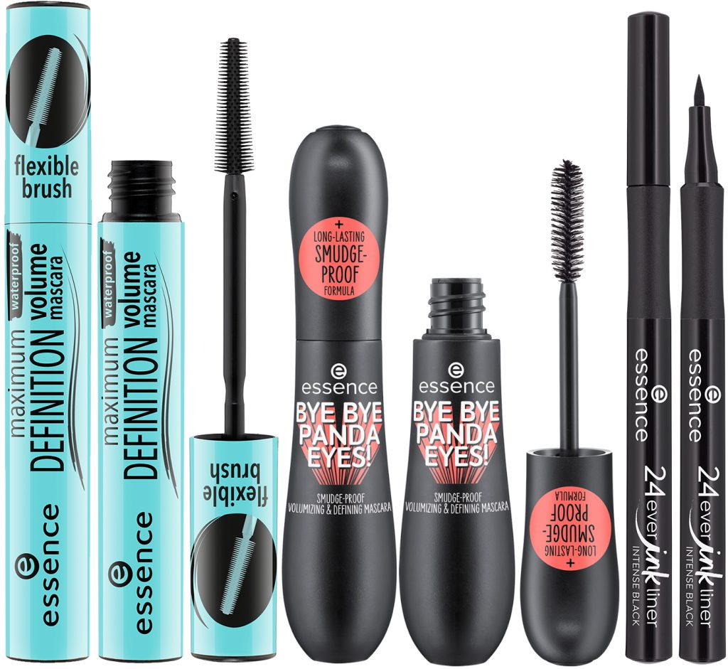 Essence maximum DEFINITION waterproof volume mascara Bye Panda eyes 24ever ink eyeliner