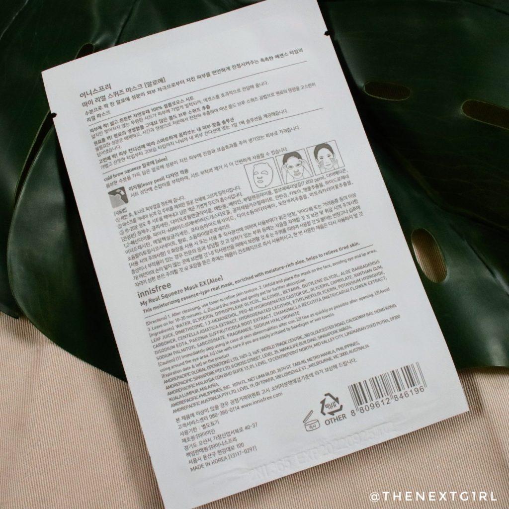 Innisfree Aloe Vera sheetmasker achterkant