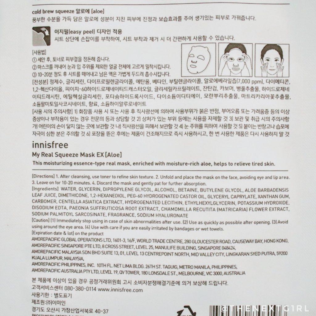 Innisfree Aloe Vera sheetmasker gebruik