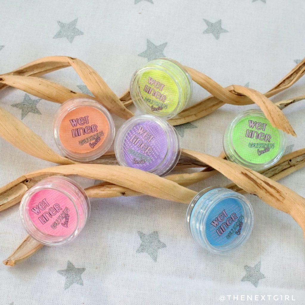 Glisten cosmetics wet liners pastelkleuren
