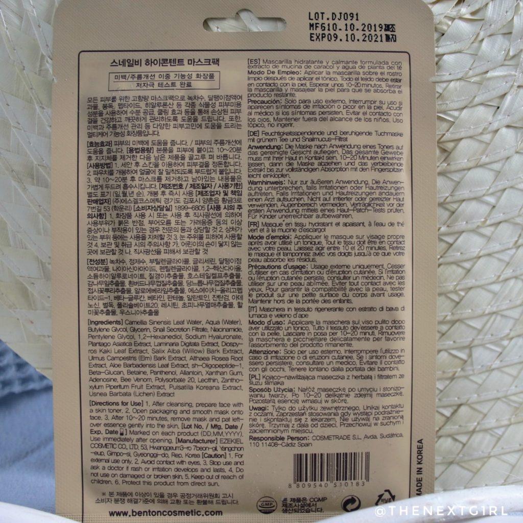 Achterkant Benton Snail Bee High Content Mask Pack sheet mask