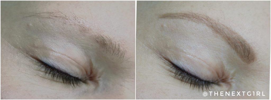 Makeup Obsession Ash brown wenkbrauwpotlood voor en na
