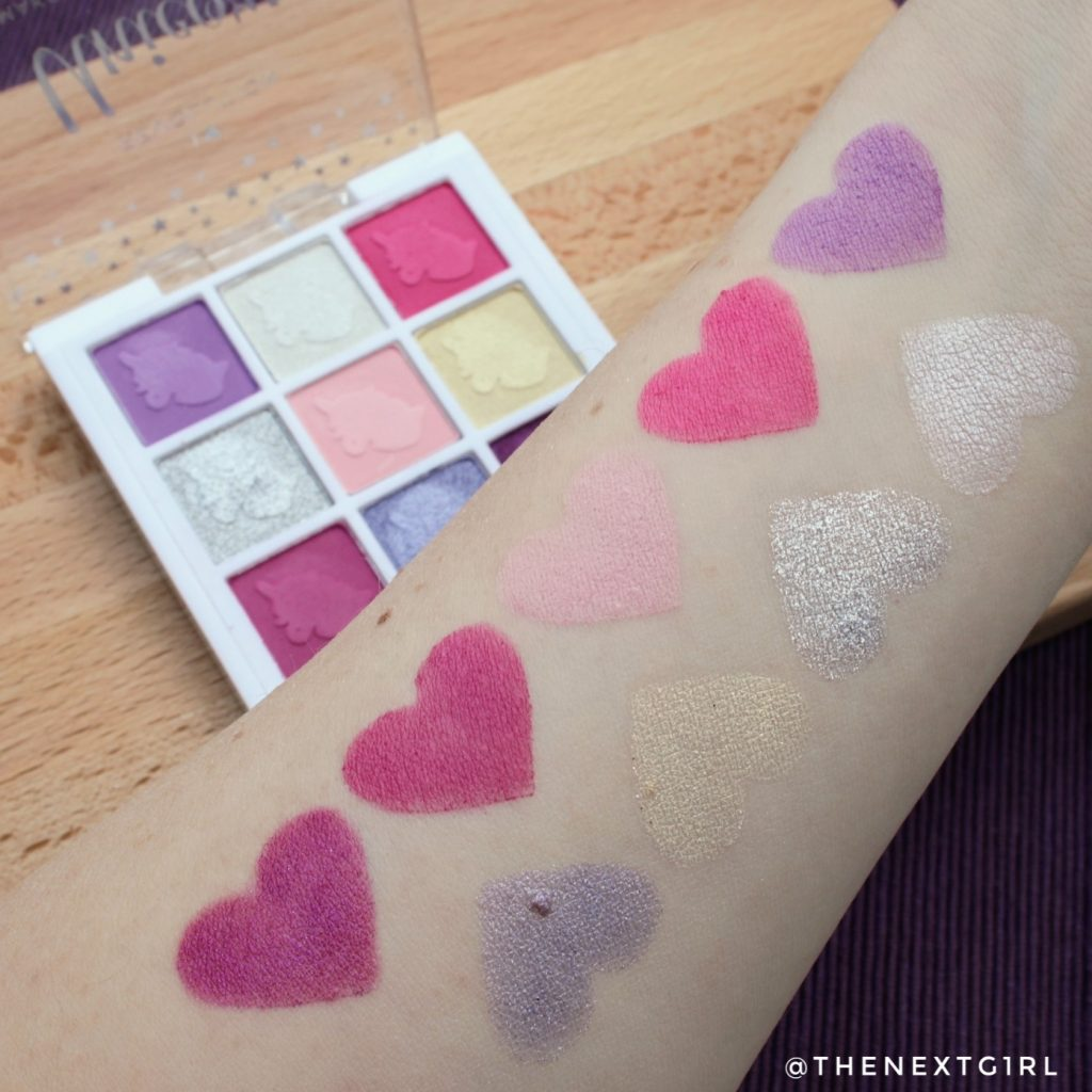 I heart Revolution Unicorn oogschaduwpalette swatches