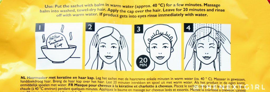 Gebruiksadvies Keratin Hot Hair treatment masker Action