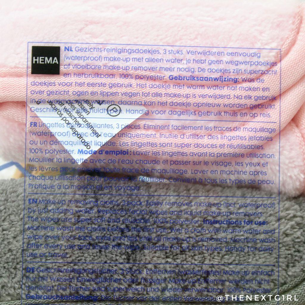 Hema makeup removing cloths informatie