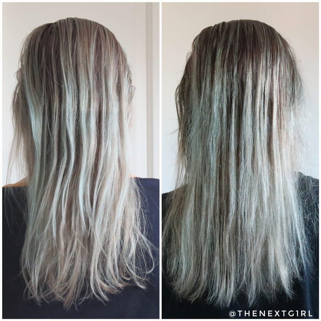 Voor en na foto haarkleuring Crazy Color Silver