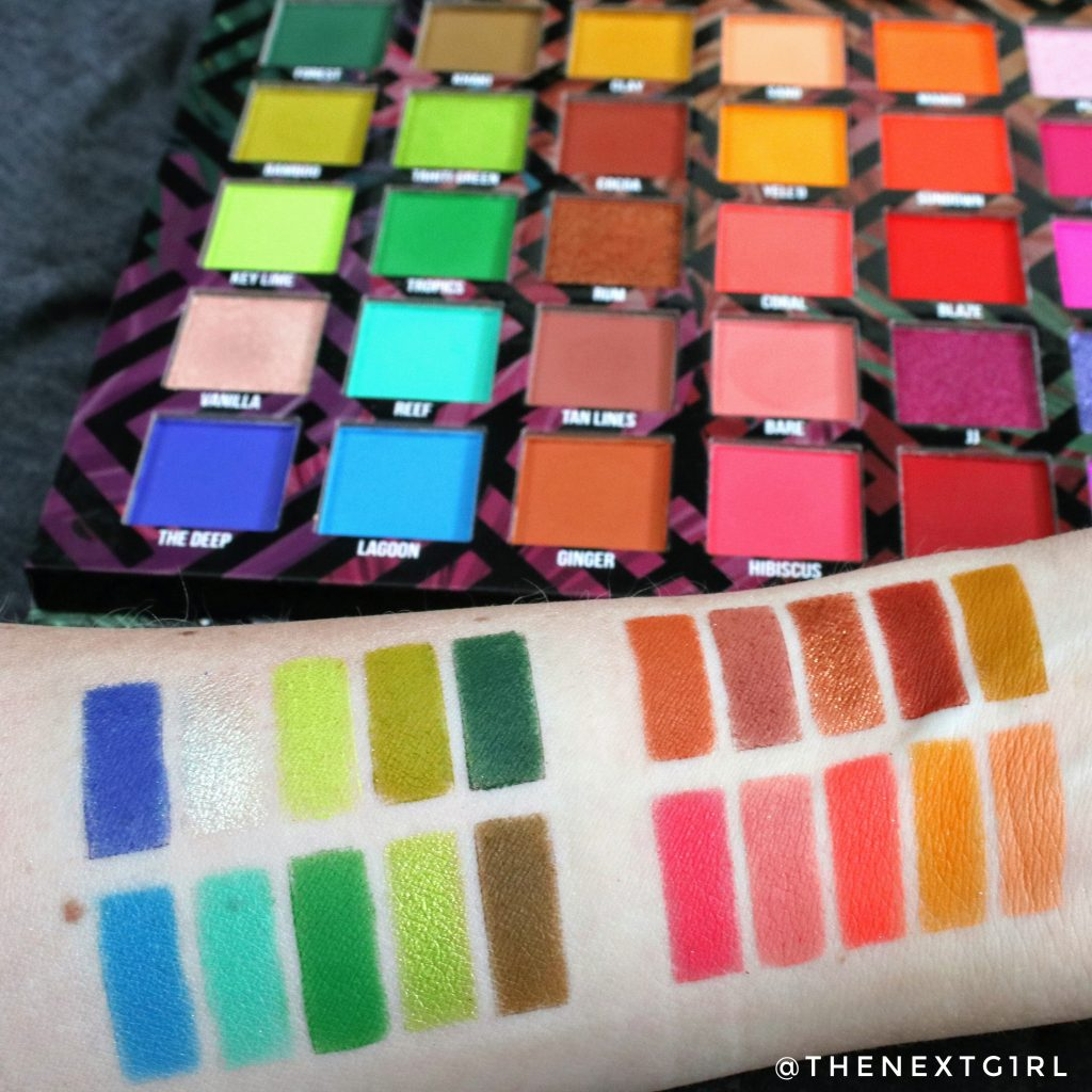 BPerfect Cosmetics Carnival 3 Love Tahiti palette swatches groen blauw oranje bruin