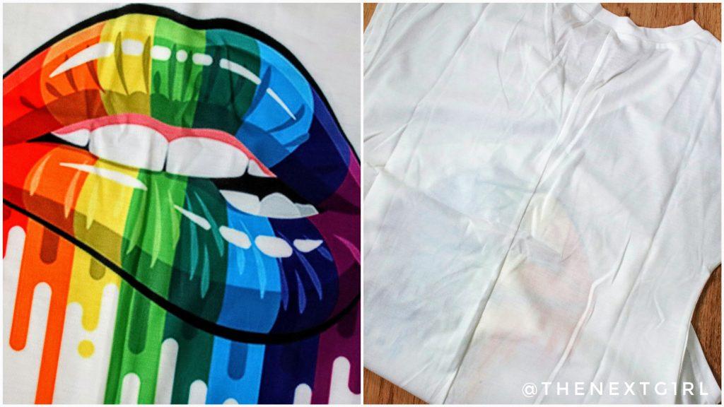 Details wit shirt regenboog lippen