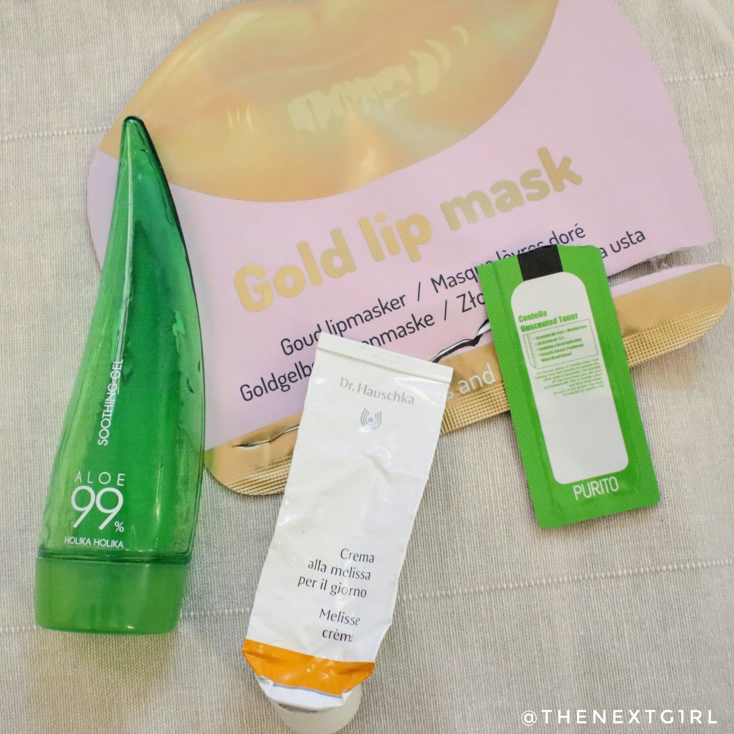 Opgemaakte gezichtsverzorging aloe gel melisse crème lipmasker Action
