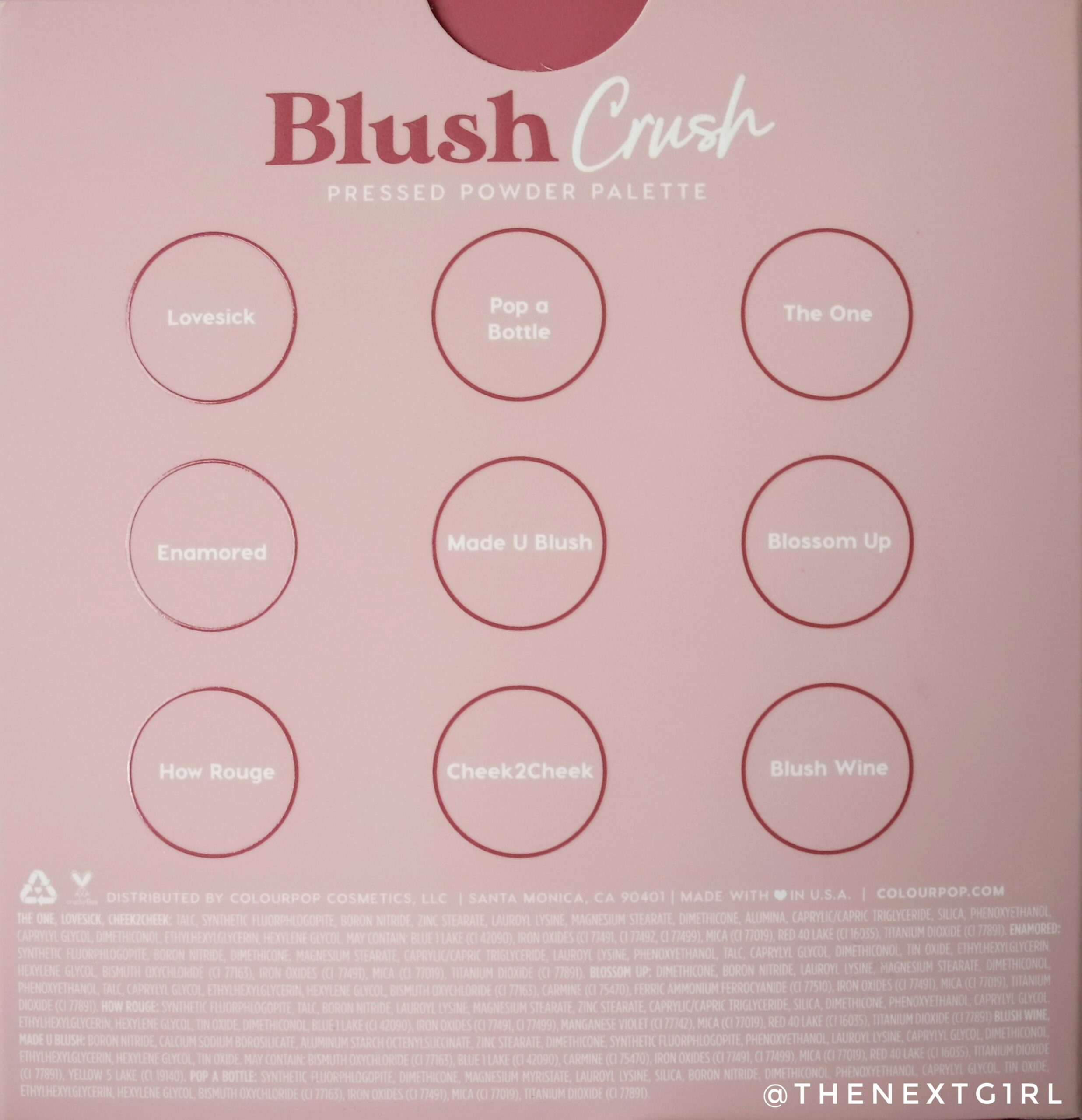 Colourpop Blush Crush kleurnamen en ingredienten
