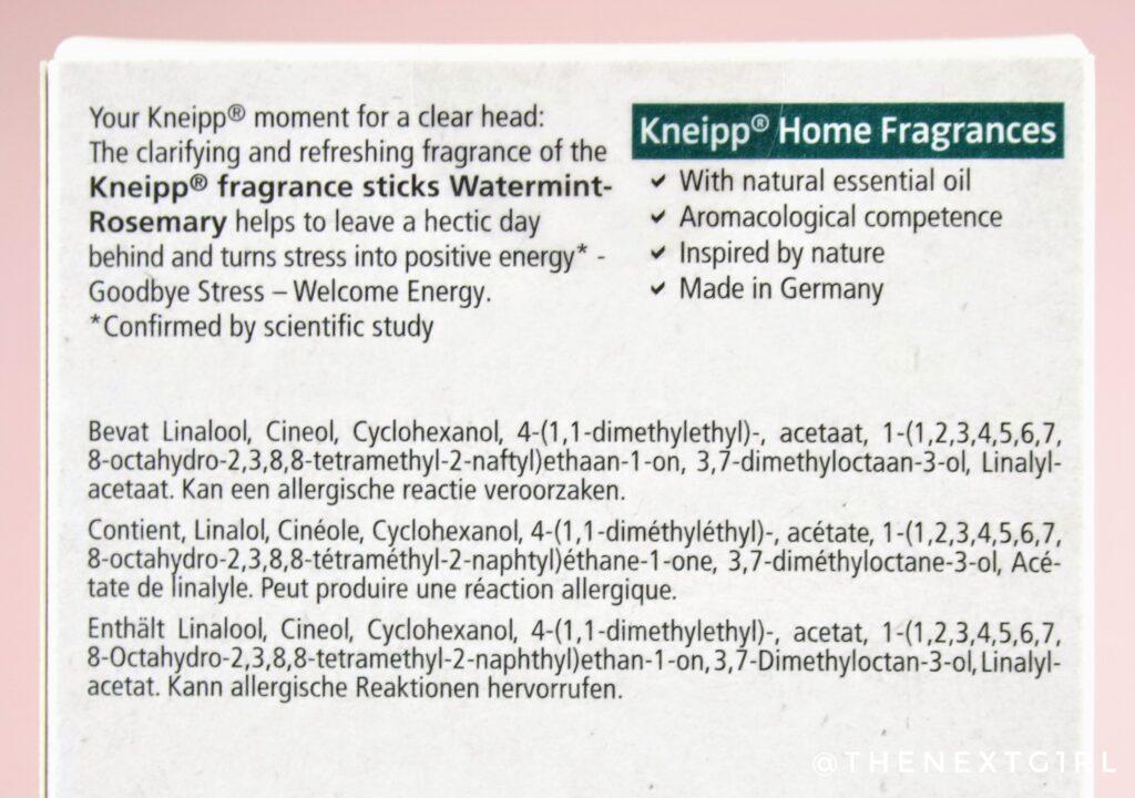 Ingredienten Kneipp Home Fragrances watermunt rozemarijn