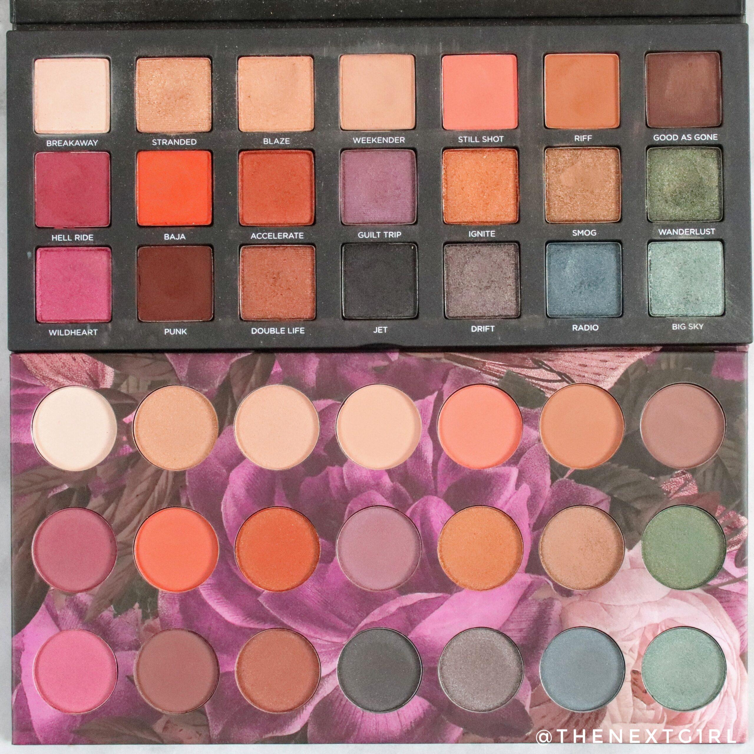 Vergelijking oogschaduwpalettes kleuren