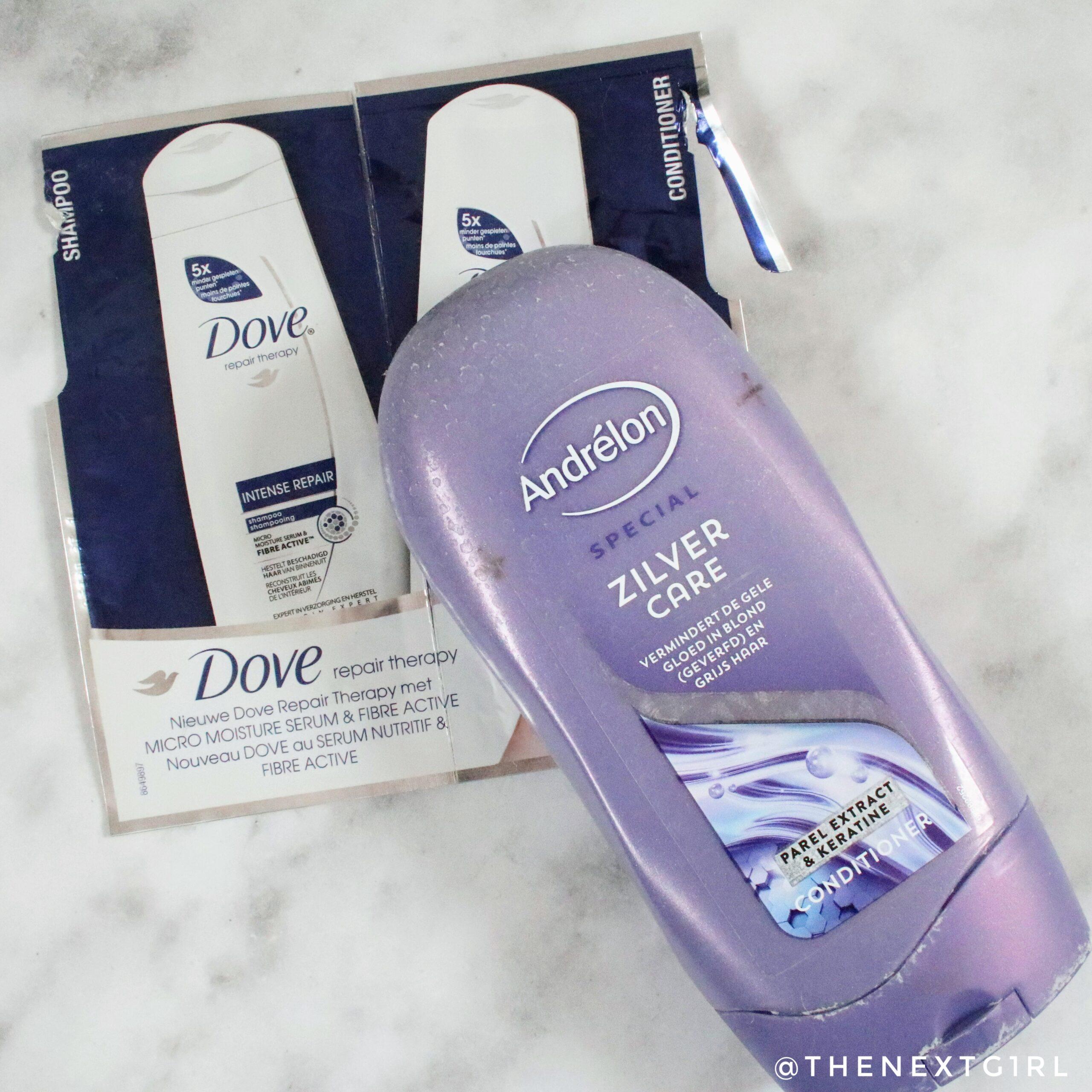 Dove haircare samples en andrelon zilver care opgemaakt