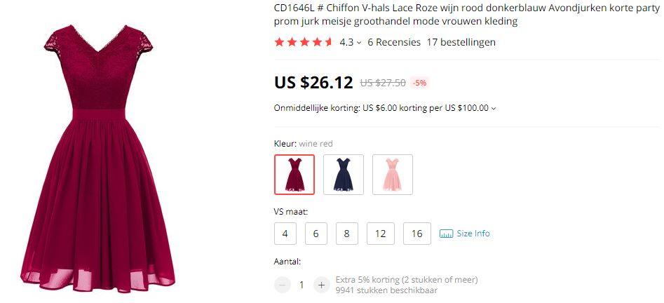 Aliexpress details donkerrode jurk