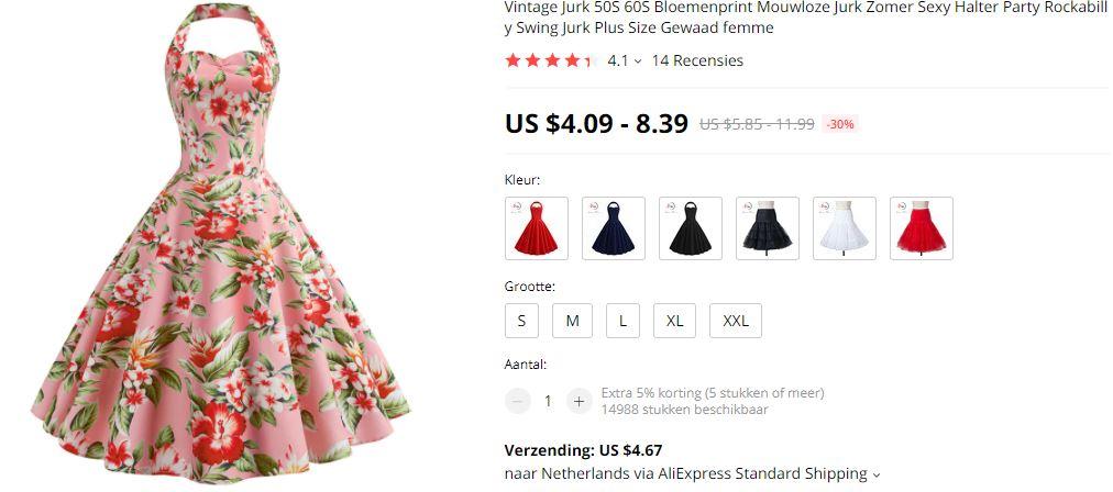 AliExpress roze bloemen feestjurk