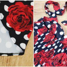 Details Zwarte rockabilly jurk met rozen