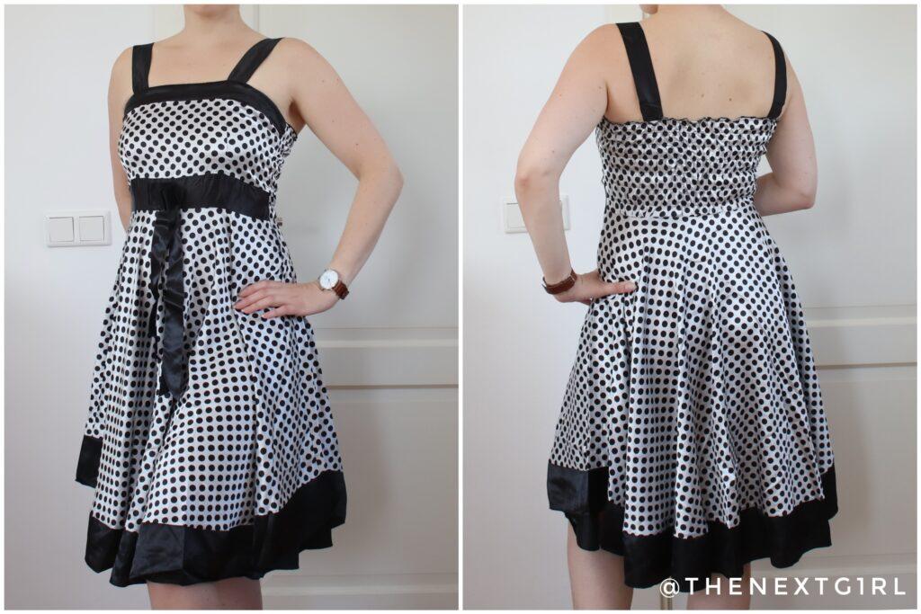 zwart wit gestipte jurk
