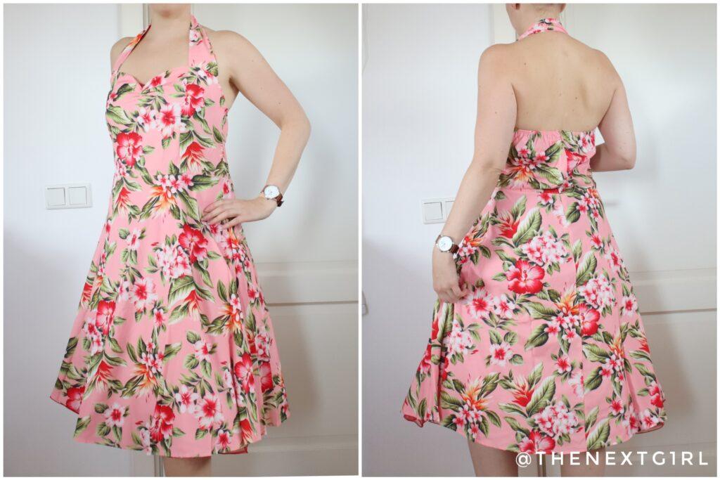 Lichtroze vintage jurk met bloemen