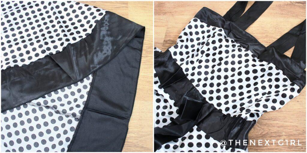Details zwart wit gestipte jurk