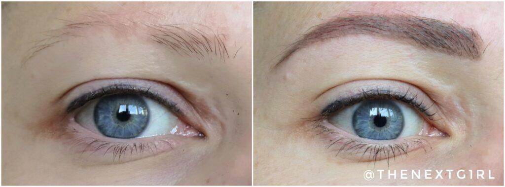 Voor en na foto wenkbrauwpomade ash blonde