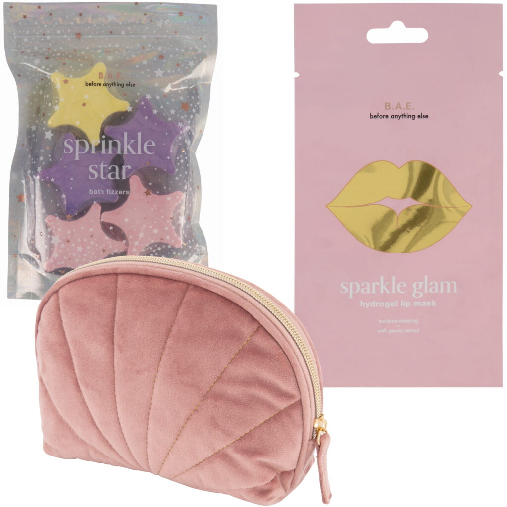 B.A.E. lipmasker bath fizzers en make-up tas