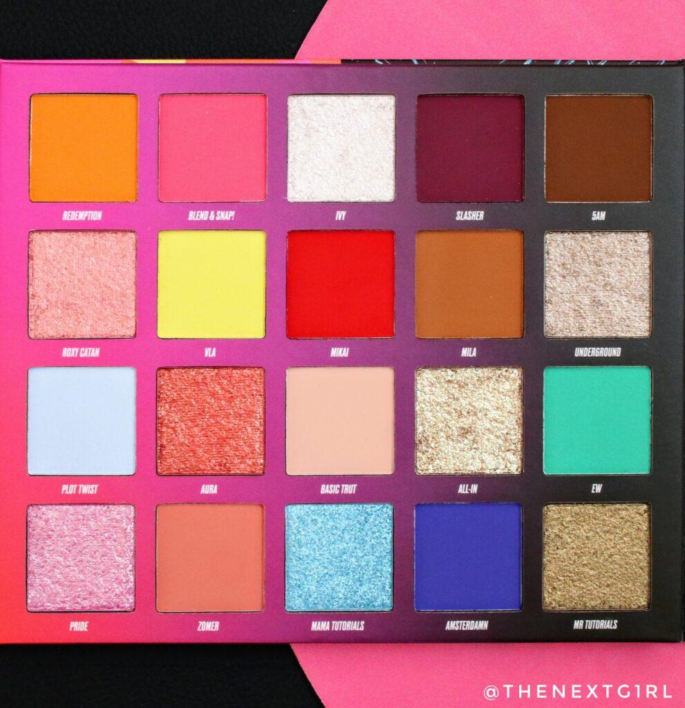 Kleuren in palette NikkieTutorials x Beauty bay