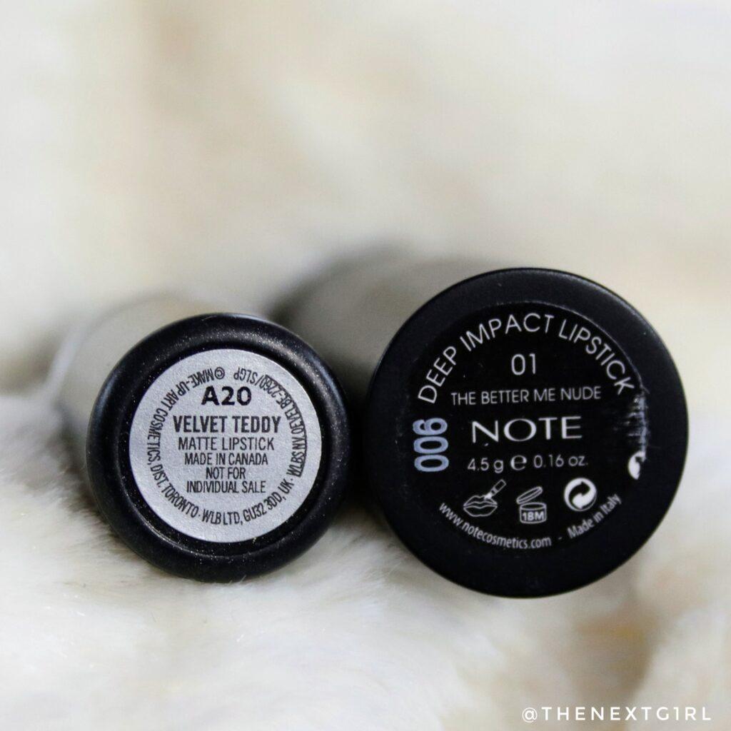 NOTE The Better Me Nude en MAC Velvet Teddy lipsticks