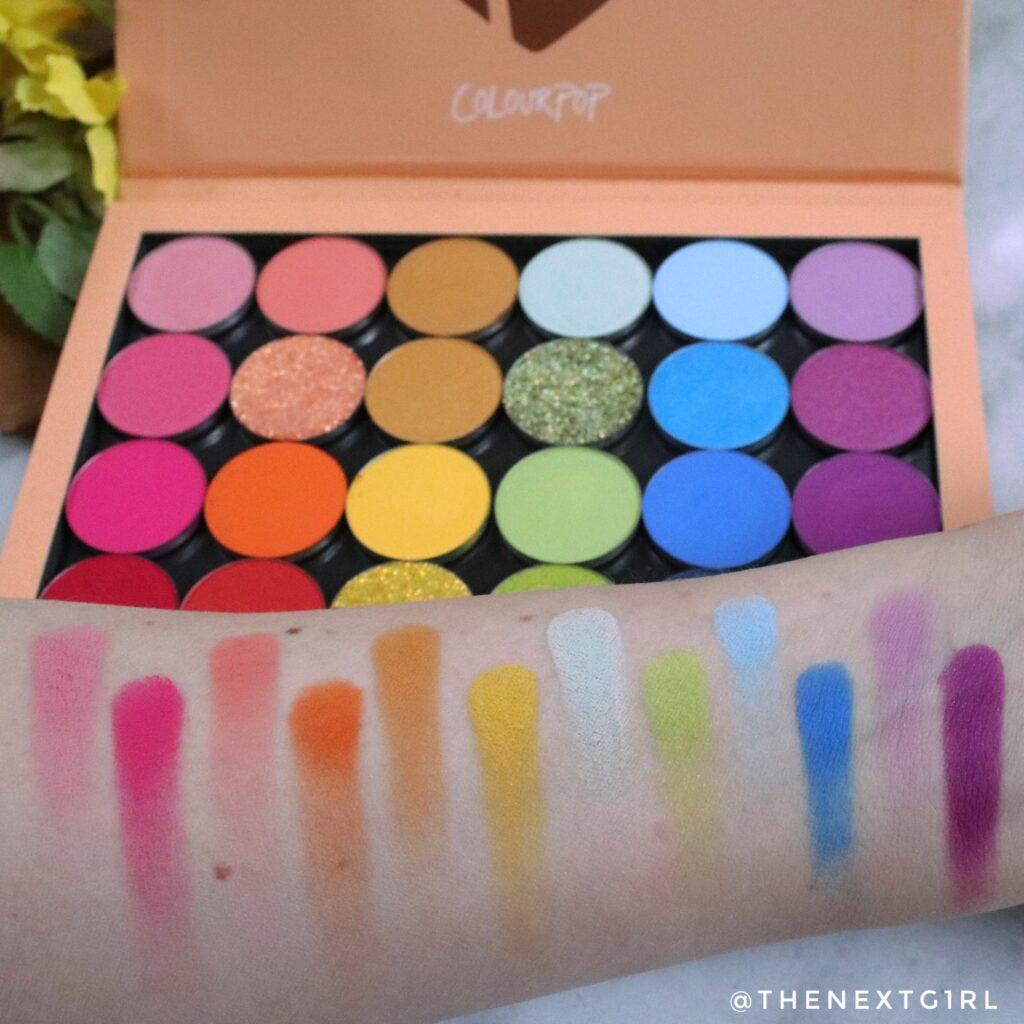 Swatches matte kleuren She's A Rainbow Colourpop